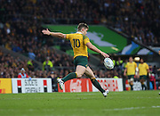 Australia's Bernard Foley clearing the ball to prevent a Scottish charge during the Rugby World Cup Quarter Final match between Australia and Scotland at Twickenham, Richmond, United Kingdom on 18 October 2015. Photo by Matthew Redman.