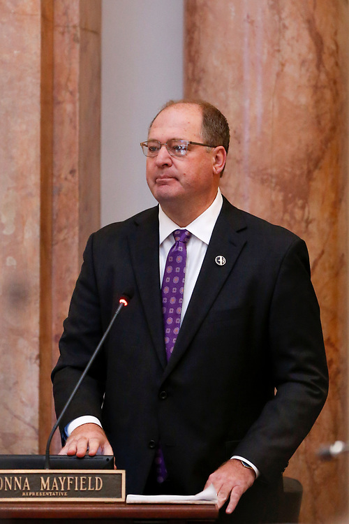 Speaker of the House Rep. Jeff Hoover, R-Russell, resigns from his role as Speaker of the House in a floor speech during the General Assembly in the State Capitol in Frankfort, Ky., Monday, January 8, 2018.