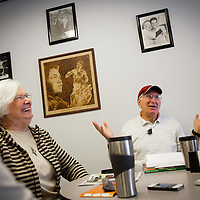 DELTONA, FL -- Customers JoAnn Mellen of Ormand Beach, left to right, Theresa Kostka of DeBary, and John Palmer of Lake Mary share a laugh while talking politics at Bagel King Bakery in Deltona, Fla., on Friday, January 27, 2012. As the Florida Primary approaches, the voters along the I-4 corridor are becoming an increasingly more important path to securing a win.  (Chip Litherland for The New York Times)