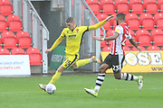 Sam Jones and Luke Croll during the EFL Sky Bet League 2 match between Exeter City and Cheltenham Town at St James' Park, Exeter, England on 22 September 2018.