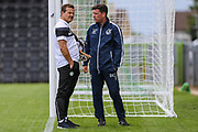 Forest Green Rovers manager, Mark Cooper and Bristol Rovers Manager Darrell Clarke  during the Pre-Season Friendly match between Forest Green Rovers and Bristol Rovers at the New Lawn, Forest Green, United Kingdom on 22 July 2017. Photo by Shane Healey.
