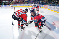 KELOWNA, CANADA, OCTOBER 20: Mitchell Chapman #5 of the Kelowna Rockets takes part in a pre-game ritual as  the Vancouver Giants visited the Kelowna Rockets on October 20, 2011 at Prospera Place in Kelowna, British Columbia, Canada (Photo by Marissa Baecker/shootthebreeze.ca) *** Local Caption *** Mitchell Chapman;