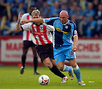 Photo: Richard Lane.<br />Cheltenham Town v Wycombe Wanderers. Coca Cola League 2. Play off Semi Final, 2nd Leg. 18/05/2006.<br />Wycombe's Tommy Mooney attacks.