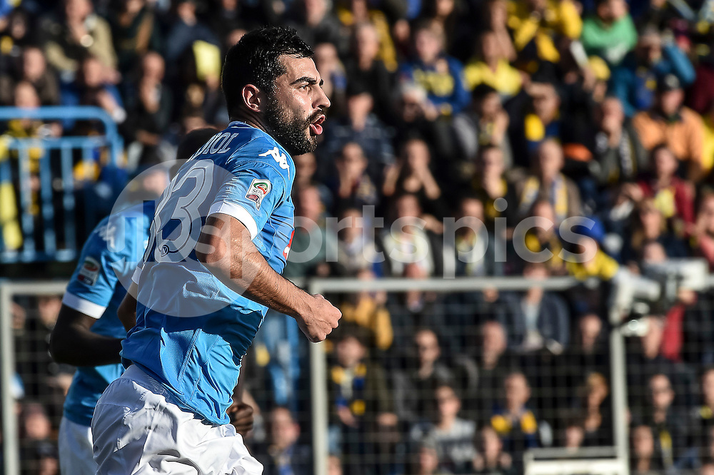 Raúl Albiol of Napoli celebrates the opening goal during the Serie A TIM match between Frosinone and Napoli at Stadio Matusa, Frosinone, Italy on 10 January 2016. Photo by Giuseppe Maffia.