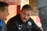 Forest Green Rovers assistant manager, Scott Lindsey during the EFL Sky Bet League 2 match between Stevenage and Forest Green Rovers at the Lamex Stadium, Stevenage, England on 21 October 2017. Photo by Adam Rivers.