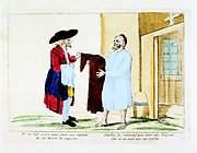 French Revolution 1789. Suppression of religious orders: a Capuchin Friar disposing of his habit to a Jewish second-hand clothes dealer. 18th century coloured engraving. Carnavalet, Paris.