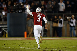 PALO ALTO, CA - NOVEMBER 10: Quarterback K.J. Costello #3 of the Stanford Cardinal celebrates after throwing a 75 yard touchdown pass against the Oregon State Beavers during the second quarter at Stanford Stadium on November 10, 2018 in Palo Alto, California. (Photo by Jason O. Watson/Getty Images) *** Local Caption *** K.J. Costello