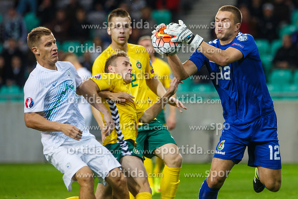 Valter Birsa of Slovenia and Emilijus Zubas of Lithuania during the EURO 2016 Qualifier Group E match between Slovenia and Lithuania, on October 9, 2015 in SRC Stozice, Ljubljana Slovenia. Photo by Grega Valancic / Sportida