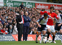 Photo: Leigh Quinnell.<br /> Tottenham Hotspur v Manchester United. The Barclays Premiership. 17/04/2006. Man Utd manager Sir Alex Ferguson watches play with Tottenham manager Martin Jol.
