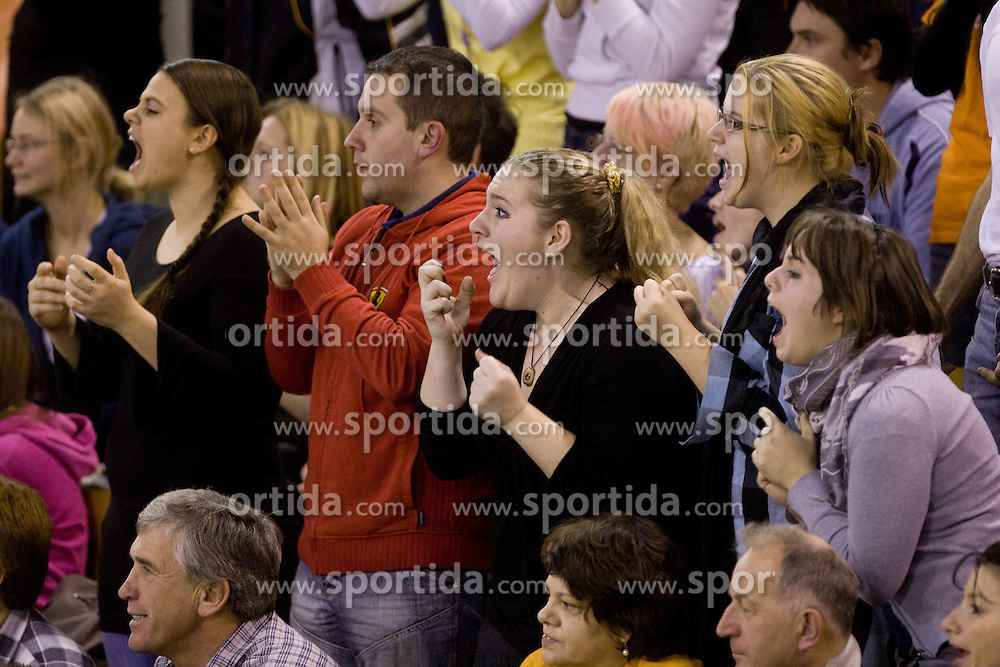 Fans of ACH at volleyball match of CEV Indesit Champions League Men 2009/2010 between ACH Volley Bled (SLO) and Istanbul Buyuksehir BLD (TUR), on December 9, 2009 in Arena Tivoli, Ljubljana, Slovenia. (Photo by Vid Ponikvar / Sportida)
