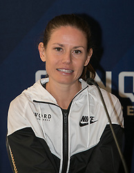 March 18, 2018 - Santa Monica, California, U.S - American women's winner, Christina Vergara attends a press conference after the completion of the Skechers Performance Los Angeles Marathon on Sunday March 18, 2018 in Santa Monica, California. (Credit Image: © Prensa Internacional via ZUMA Wire)