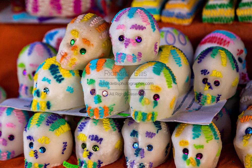 Sugar skulls celebrating the Day of the Dead festival known in spanish as Día de Muertos in Oaxaca, Mexico.