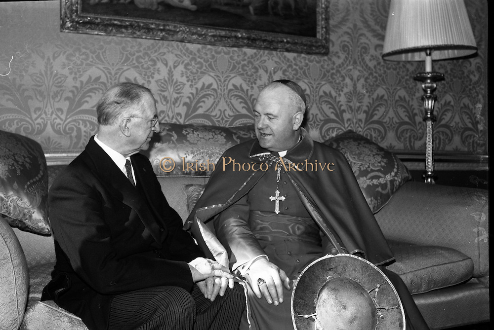 Cardinal William Conway chats with President Eamon de Valera at Áras an Uachtarain on his arrival from Rome..02.03.1965