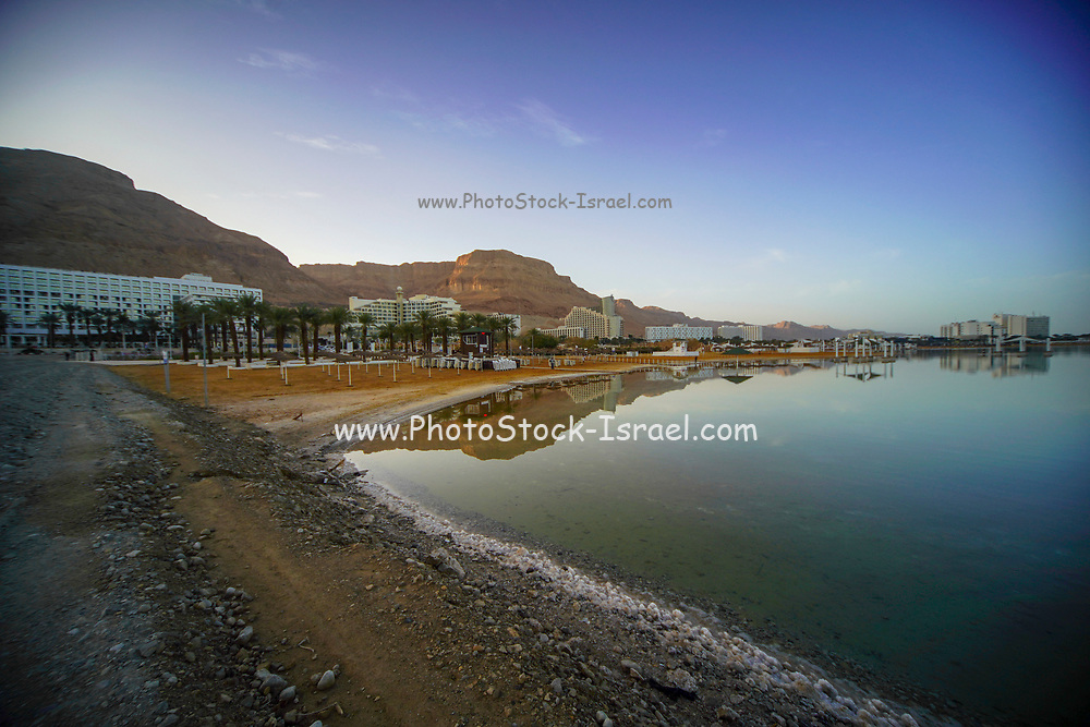 Hotels and a reflection in the Dead Sea, Israel as seen from south