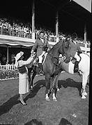 The Dublin Horse Show.1982.07.08.1982.08.07.1982.7th August 1982...The Dublin Horse Show..R.D.S., Ballsbridge, Dublin.The winners of the Aga Khan team trophy were Great Britain. The shows' leading rider was Mr Harvey Smith, Great Britain. .in picture Mr Harvey Smith accepts his team award from Mrs Hely Hutchinson.