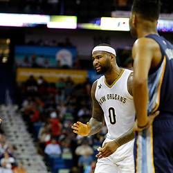 Mar 21, 2017; New Orleans, LA, USA; New Orleans Pelicans forward DeMarcus Cousins (0) argues with an official after a foul call during the second quarter of a game against the Memphis Grizzlies at the Smoothie King Center. Mandatory Credit: Derick E. Hingle-USA TODAY Sports