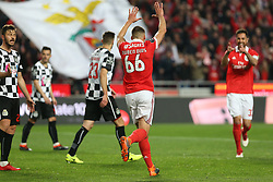 February 17, 2018 - Lisbon, Lisbon, Portugal - Benficas defender Ruben Dias from Portugal (C) celebrating after scoring a goal during the Premier League 2017/18 match between SL Benfica v Boavista FC, at Luz Stadium in Lisbon on February 17, 2018. (Credit Image: © Dpi/NurPhoto via ZUMA Press)