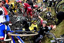 March 23, 2018 - Harelbeke, BELGIUM - Belgian Stijn Steels of Sport Vlaanderen - Baloise, French Yohann Gene of Direct Energie and Austrian Marco Haller of Katusha-Alpecin pictured after a fall during the 61st edition of the 'E3 Prijs Vlaanderen Harelbeke' cycling race, 206,5 km from and to Harelbeke, Friday 23 March 2018. BELGA PHOTO DIRK WAEM (Credit Image: © Dirk Waem/Belga via ZUMA Press)