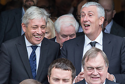 © Licensed to London News Pictures . 20/09/2014 . Manchester , UK . L-R Speaker of the House of Commons John Bercow , Deputy Speaker of the House of Commons Lindsay Hoyle . Departures at the funeral of Heywood and Middleton MP Jim Dobbin at Salford Cathedral today (Saturday 20th September 2014) . Photo credit : Joel Goodman/LNP