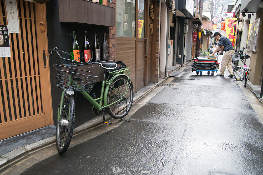 Restaurants before they open for the evening in Kyoto, Japan.