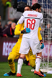 03.02.2019, Stadio Olimpico, Rom, ITA, Serie A, AS Roma vs AC Milan, 22. Runde, im Bild donnarumma e rodriguez // donnarumma and rodriguez during the Seria A 22th round match between AS Roma and AC Milan at the Stadio Olimpico in Rom, Italy on 2019/02/03. EXPA Pictures &copy; 2019, PhotoCredit: EXPA/ laPresse/ Alfredo Falcone<br /> <br /> *****ATTENTION - for AUT, SUI, CRO, SLO only*****