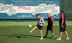 PODGORICA, MONTENEGRO - Thursday, September 2, 2010: Wales' captain Craig Bellamy with assistant coach Roy Evans and manager John Toshack MBE during a training session at the Montenegro FA Technical Centre ahead of the UEFA Euro 2012 Qualifying Group 4 match against Montenegro. (Pic by David Rawcliffe/Propaganda)