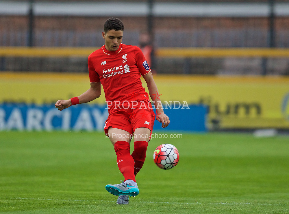 SOUTHPORT, ENGLAND - Wednesday, August 19, 2015: Liverpool's Tiago Llori in action against Everton during the Under 21 FA Premier League match at Haig Avenue. (Pic by David Rawcliffe/Propaganda)