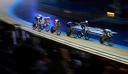 Great Britain's Andy Tennant (right) and Christopher Latham in action during the Team Elimination Race, during day one of the Six Day Series at the HSBC National Cycling Centre, Manchester.