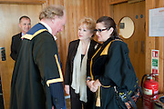 PRINCIPAL; GAVIN HENDERSON; GREETS DEBBIE REYNOLDS; CARRIE FISHER, Central School of Speech and Drama presents Honory Fellowships to Carrie Fisher, Bette Bourne, Joseph Selig and Helen Lannaghan. Royal Festival Hall. London. 12 December 2011.