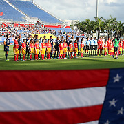The starting lineups prior to an international friendly soccer match between the United States Women's National soccer team and the Russia National soccer team at FAU Stadium on Saturday, February 8, in Boca Raton, Florida. (AP Photo/Alex Menendez)