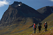 Mountaineers Camilla Antonsson, Fidde Jönsson and Pontus Tengvall hiking, Kebnekaise mountain, 2104 meters, Giebnegaise, Lappland, Lapland, Norrbotten, Sweden.