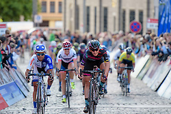 Lisa Brennauer (CANYON//SRAM Racing) secures second place on the stage ahead of Coryn RIvera (UnitedHealthcare) at Thüringen Rundfarht 2016 - Stage 1 a 67km road race starting and finishing in Gotha, Germany on 15th July 2016.