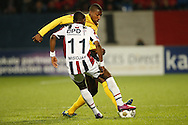 Onderwerp/Subject: Willem II - Roda JC - Eredivisie<br /> Reklame:  <br /> Club/Team/Country: <br /> Seizoen/Season: 2012/2013<br /> FOTO/PHOTO: Virgil MISIDJAN (FRONT) of Willem II in duel with Mitchell DONALD (BEHIND) of Roda JC. (Photo by PICS UNITED)<br /> <br /> Trefwoorden/Keywords: <br /> #04 $94 &plusmn;1355242121502<br /> Photo- &amp; Copyrights &copy; PICS UNITED <br /> P.O. Box 7164 - 5605 BE  EINDHOVEN (THE NETHERLANDS) <br /> Phone +31 (0)40 296 28 00 <br /> Fax +31 (0) 40 248 47 43 <br /> http://www.pics-united.com <br /> e-mail : sales@pics-united.com (If you would like to raise any issues regarding any aspects of products / service of PICS UNITED) or <br /> e-mail : sales@pics-united.com   <br /> <br /> ATTENTIE: <br /> Publicatie ook bij aanbieding door derden is slechts toegestaan na verkregen toestemming van Pics United. <br /> VOLLEDIGE NAAMSVERMELDING IS VERPLICHT! (&copy; PICS UNITED/Naam Fotograaf, zie veld 4 van de bestandsinfo 'credits') <br /> ATTENTION:  <br /> &copy; Pics United. Reproduction/publication of this photo by any parties is only permitted after authorisation is sought and obtained from  PICS UNITED- THE NETHERLANDS