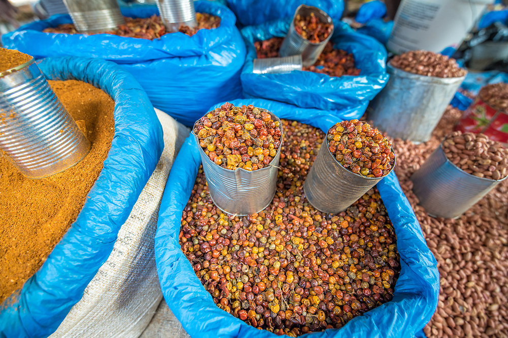 Close up of dried palm kernels (Elaeis guineensis) in Ganta, Liberia