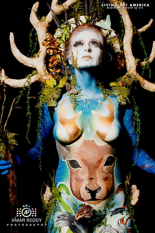 Living Art America::The Bodies Works of Art::The North American Body Painting Championship | A World Body-painting Association Sanctioned Event <br /> <br /> Artist:   Amber Michael,              Model: Maggie Story, <br /> Photographer: Amar Reddy<br /> <br /> www.livingartamerica.com<br /> www.AmarPhotography.com
