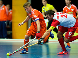 LEIZPIG - WC HOCKEY INDOOR 2015<br /> NED v POL (Pool B)<br /> Foto:TIGGES Robert (C) in dual with BRATKOWSKI Pawel (C)<br /> FFU PRESS AGENCY COPYRIGHT FRANK UIJLENBROEK
