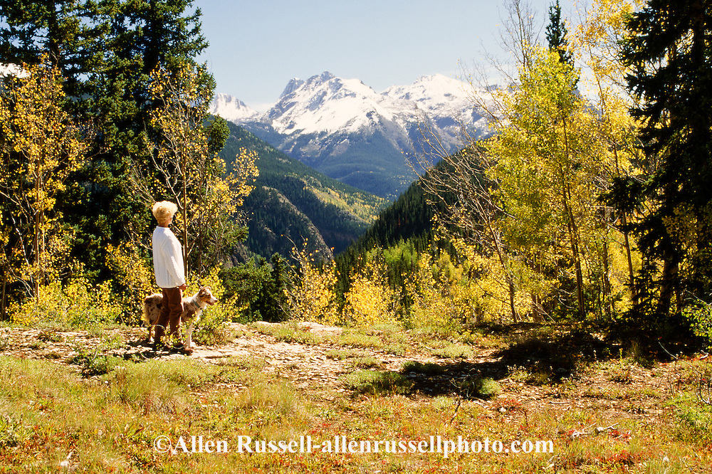 Woman and Australian Shepherd dog, San Juan National Forest, Colorado, <br /> MODEL RELEASED, PROPERTY RELEASED