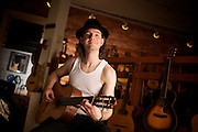 2010 November 30 - Professional guitarist Brian Lally at Guitar Emporium, Ballard, Seattle, WA, USA. CREDIT: Richard Walker/Vecta Photo