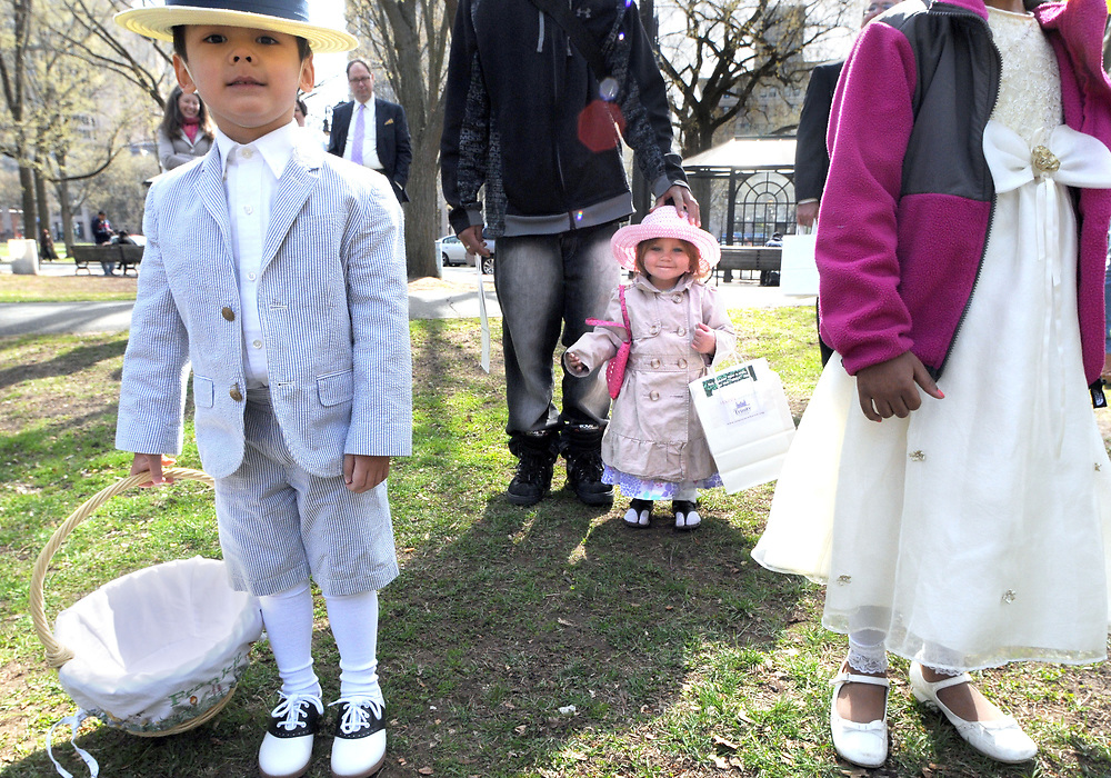 (Mara Lavitt &mdash; New Haven Register) <br /> April 20, 2014 New Haven<br /> New Haven's Trinity Church on the Green held its fifth annual Easter Egg Hunt on the Upper Green in New Haven. Francis Segger, age 4 of Madison, and Jasmyne Sky Mendez age 2 of New Haven await the start of the hunt.<br /> mlavitt@newhavenregister.com