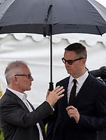 Festival  Director Thierry Frémaux and Nicolas Winding Refn at Too Old to Die Young – North of Holywood, West of Hell, Rendez Vous with Nicolas Winding Refn photo call at the 72nd Cannes Film Festival, Saturday 18th May 2019, Cannes, France. Photo credit: Doreen Kennedy