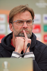 LIVERPOOL, ENGLAND - Wednesday, April 13, 2016: Liverpool's manager Jürgen Klopp during a press conference at Melwood Training Ground ahead of the UEFA Europa League Quarter-Final 2nd Leg match against Borussia Dortmund. (Pic by David Rawcliffe/Propaganda)
