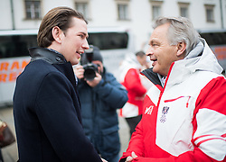 24.01.2018, Hofburg, Wien, Pyeongchang 2018, Vereidigung der Olympia-Mannschaft durch den Bundespräsidenten, im Bild Bundeskanzler Sebastian Kurz (ÖVP) und ÖSV-Sportdirektor Hans Pum // Austrian Federal Chancellor Sebastian Kurz and Sports Director of the Austrian Ski Association Hans Pum during the swearing-in of the Austrian National Olympic Committee for Pyeongchang 2018 at Hofburg in Vienna, Austria on 2018/01/24, EXPA Pictures © 2018 PhotoCredit: EXPA/ Michael Gruber