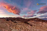 Dramatic sunrise clouds over Zabriskie Point at sunrise in Death Valley National Park, California, USA