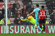 Goal - Salomon Rondon (9) of Newcastle United scores a goal to give a 0-1 lead to the away team beating Artur Boruc (1) of AFC Bournemouth during the Premier League match between Bournemouth and Newcastle United at the Vitality Stadium, Bournemouth, England on 16 March 2019.