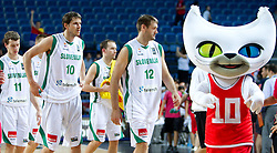 Goran Dragic of Slovenia, Bostjan Nachbar of Slovenia, Goran Jagodnik of Slovenia and mascot Bascat after the seventh-place basketball match between National teams of Slovenia and Russia at 2010 FIBA World Championships on September 11, 2010 at the Sinan Erdem Dome in Istanbul, Turkey.   (Photo By Vid Ponikvar / Sportida.com)