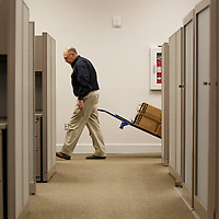 Thomas Wells | BUY AT PHOTOS.DJOURNAL.COM<br /> Maj. Jackie Clayton moves the first boxes of his belongings into the new Tupelo Police Headquarters on Front Street Wednesday.