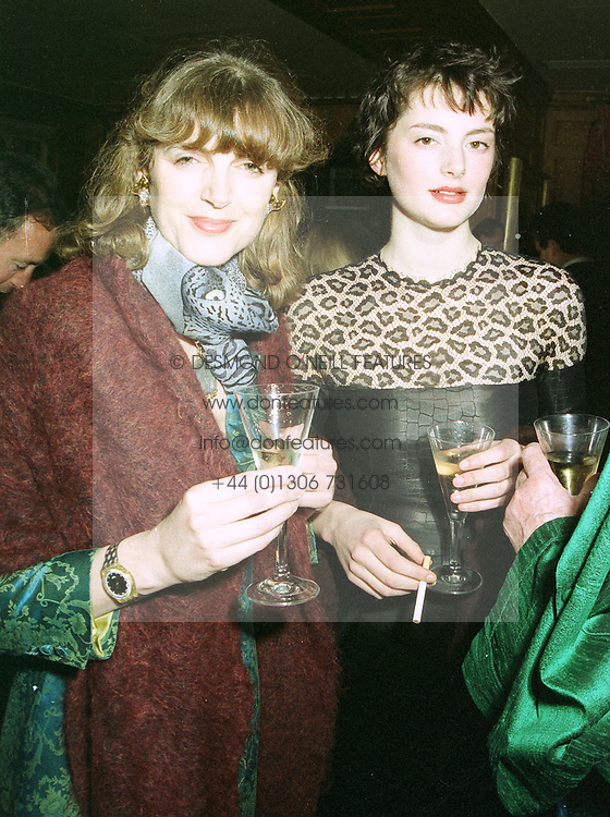 Left to right, the HON.MRS SIMON (Virginia) FRASER and her daughter, top model HONOR FRASER,  at a party in London on 8th May 1997.LYF 26