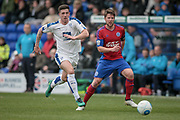 Cole Stockton (Tranmere Rovers) chases the back pass to the keeper during the Vanarama National League second leg play off match between Tranmere Rovers and Aldershot Town at Prenton Park, Birkenhead, England on 6 May 2017. Photo by Mark P Doherty.