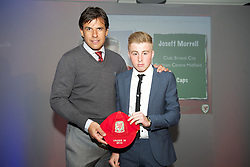 CARDIFF, WALES - Saturday, May 11, 2013: Joseff Morrell is presented with his U16's cap by Wales national team manager Chris Coleman at the FAW Trust Under-16's cap presentation. (Pic by David Rawcliffe/Propaganda)