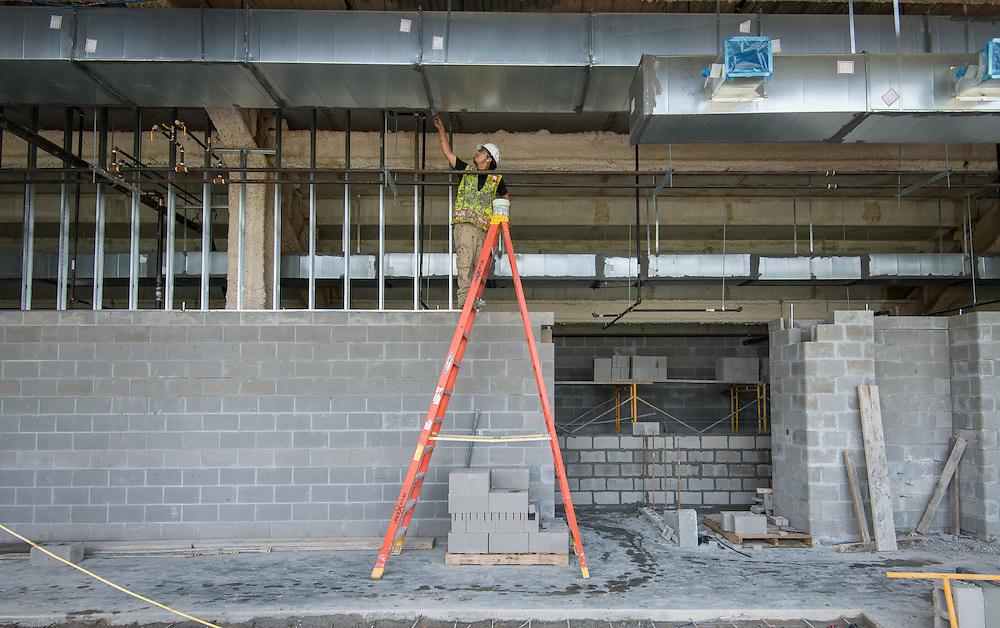 Construction of the new Delmar-Tusa Fieldhouse, April 28, 2016.